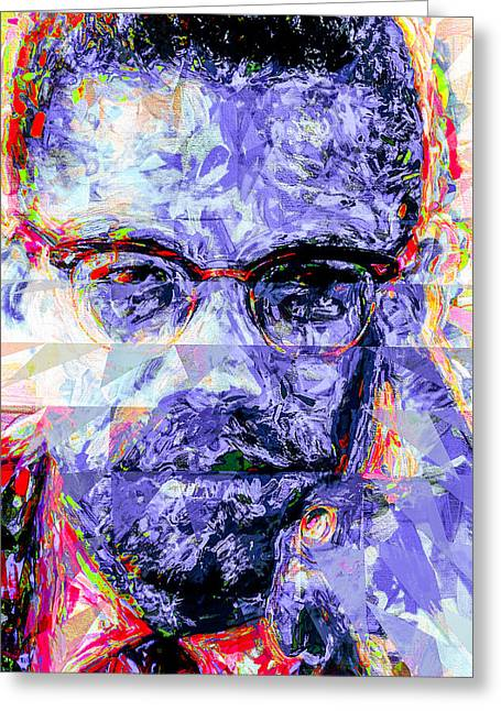 Malcolm X Digitally Painted 1 Greeting Card by David Haskett