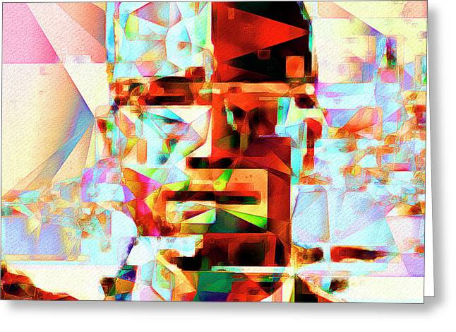 Malcolm X In Abstract Cubism 20170329 Square Greeting Card