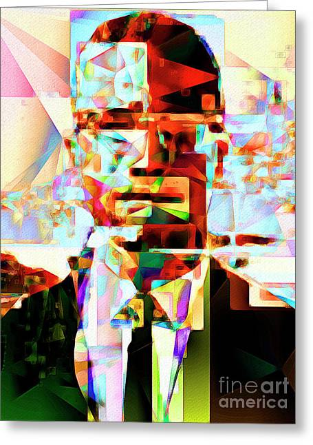 Malcolm X In Abstract Cubism 20170329 Greeting Card