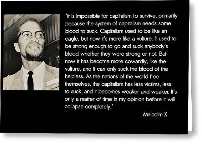 Malcolm X  On Capitalism And Vultures Greeting Card