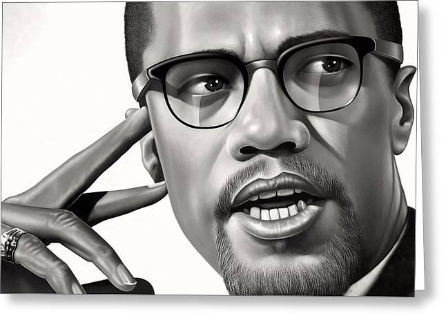 Malcolm X Drawing Greeting Card