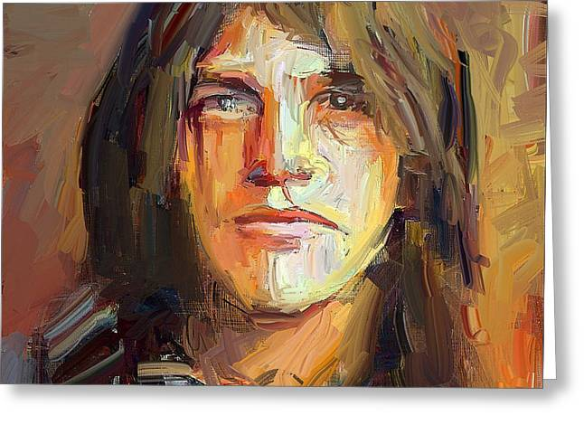 Malcolm Young Acdc Tribute Portrait Greeting Card