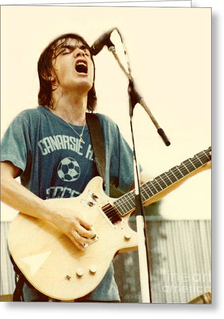 Malcolm Young Of Ac Dc At Day On The Green - July 1979 Greeting Card by Daniel Larsen