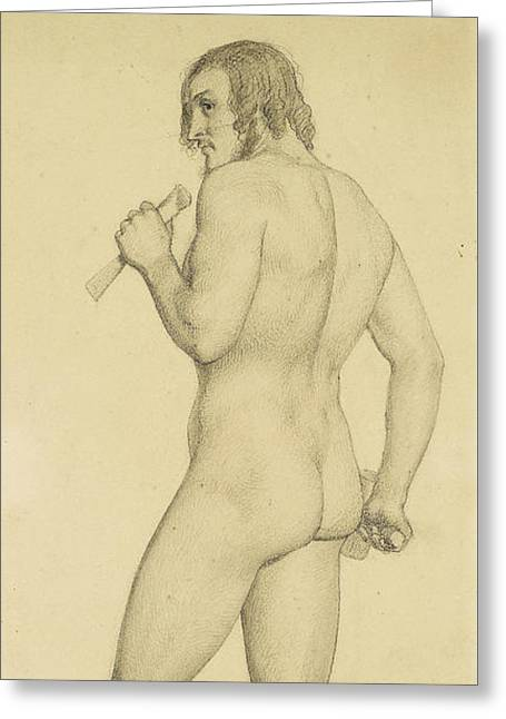 Male - Academic Nude Study Posed As A Sculptor Greeting Card by Ford Madox Brown