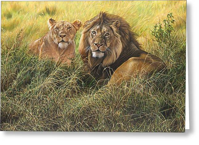 Greeting Card featuring the painting Male And Female Lion by Alan M Hunt
