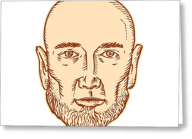 Male Bald Head Bearded Etching Greeting Card