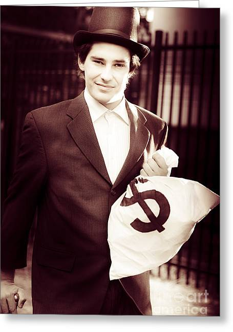 Male Banker Holding Dollar Sign Money Bags Greeting Card