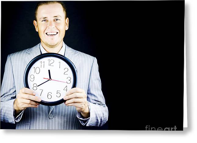 Male Business Person In Gray Suit Holding A Clock Greeting Card by Jorgo Photography - Wall Art Gallery