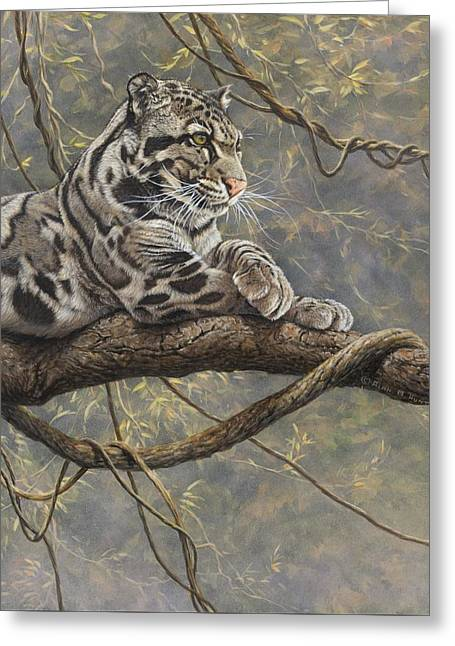 Greeting Card featuring the painting Male Clouded Leopard by Alan M Hunt