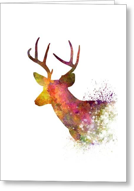 Male Deer 02 In Watercolor Greeting Card