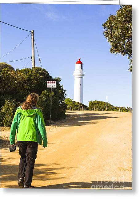 Male Explorer Sightseeing Lighthouse  Greeting Card by Jorgo Photography - Wall Art Gallery