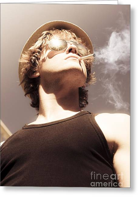 Male Glamour Model Smoking Tobaco Greeting Card