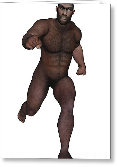 Male Homo Erectus Running Greeting Card