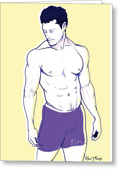 Male Model Greeting Card by Sam  Thorp