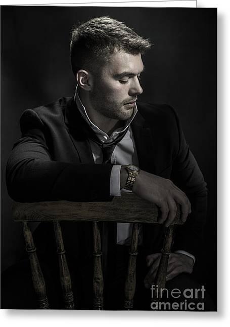 Male Model Sitting Greeting Card by Amanda Elwell