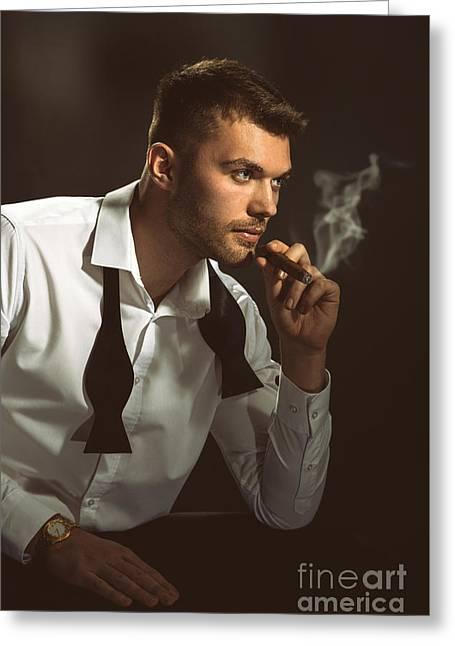 Male Model Smoking Cigar Greeting Card by Amanda Elwell