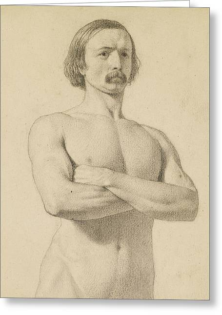 Male Nude - Academic Nude Study, Half-length With Moustache And Arms Folded  Greeting Card