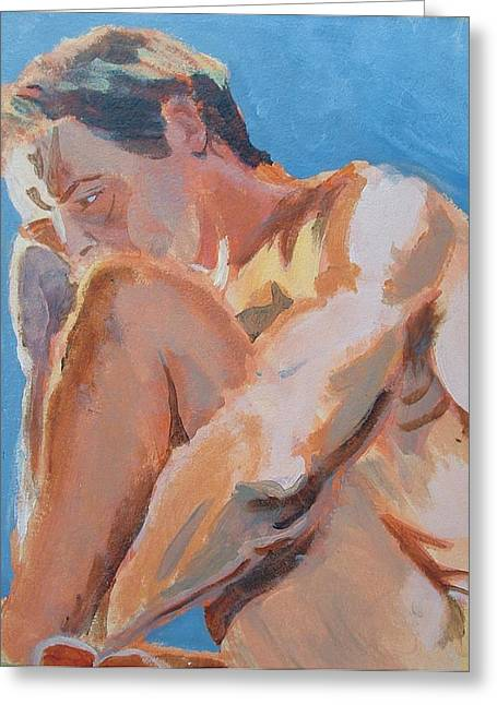 Male Nude Painting Greeting Card