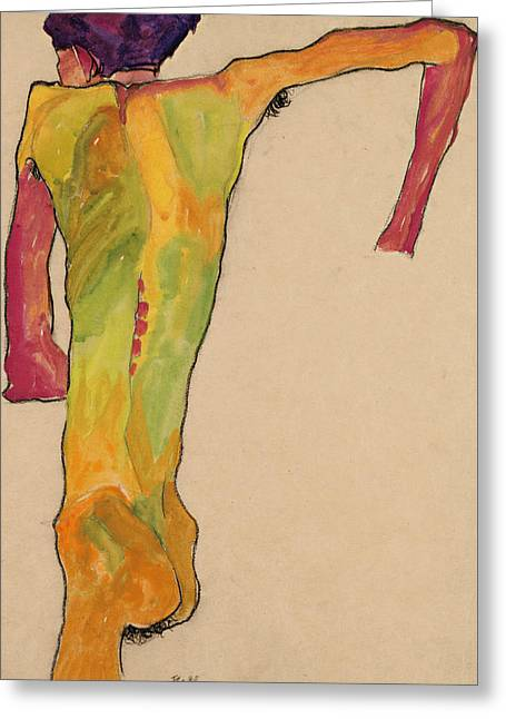 Male Nude, Propping Himself Up Greeting Card by Egon Schiele