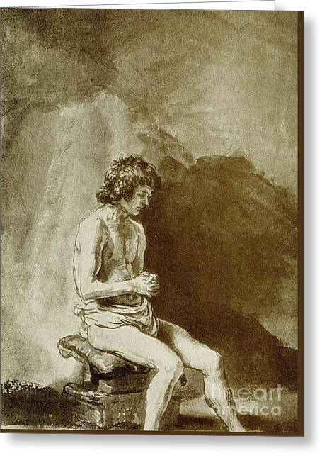 Male Nude Greeting Card by Rembrandt Harmensz van Rijn