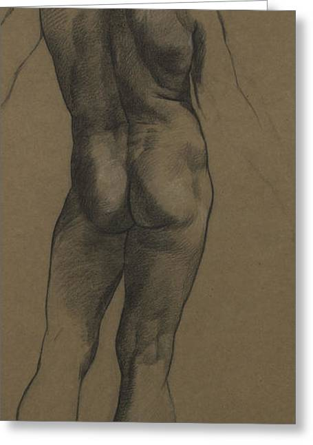 Etching Greeting Cards - Male Nude Study Greeting Card by Evelyn De Morgan