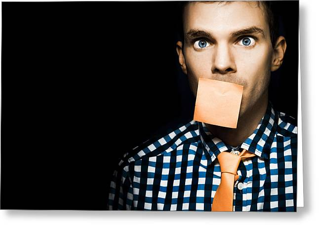 Male Office Worker With Blank Orange Sticky Note Greeting Card by Jorgo Photography - Wall Art Gallery