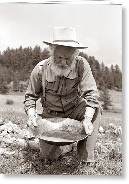 Male Prospector Panning For Gold Greeting Card
