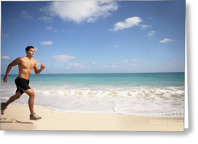 Male Runner Greeting Card by Sri Maiava Rusden - Printscapes