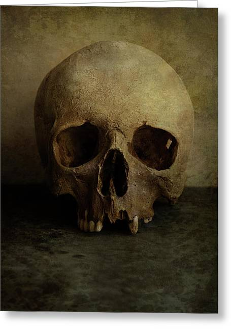 Male Skull In Retro Style Greeting Card