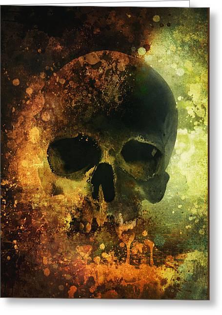 Male Skull - Warm Version Greeting Card by Jaroslaw Blaminsky