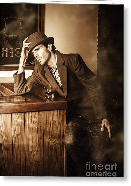 Male Undercover Detective In Speakeasy Bar Greeting Card