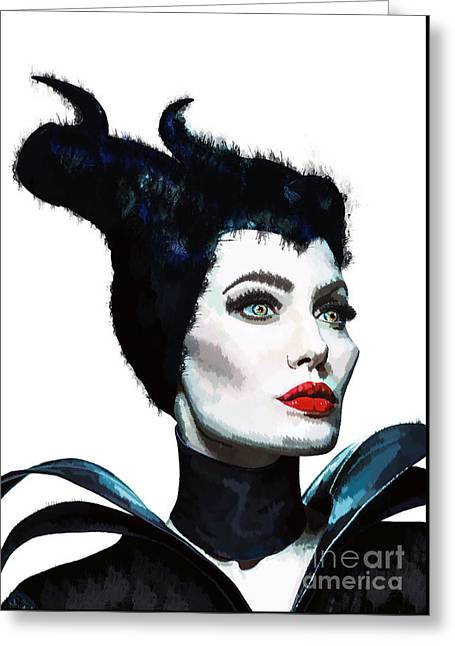 Maleficent - Angelina Jolie Greeting Card by Prar Kulasekara