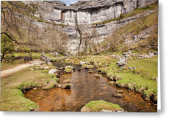 Malham Cove And Malham Beck, Yorkshire Dales National Park Greeting Card by Colin and Linda McKie