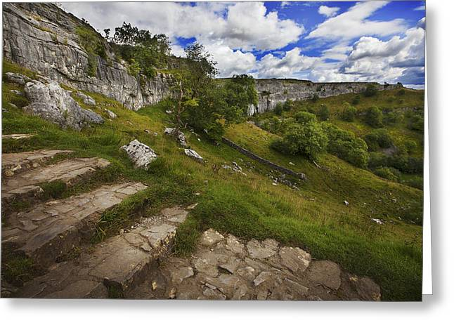 Greeting Card featuring the photograph Malham Cove, Yorkshire, Uk by Richard Wiggins