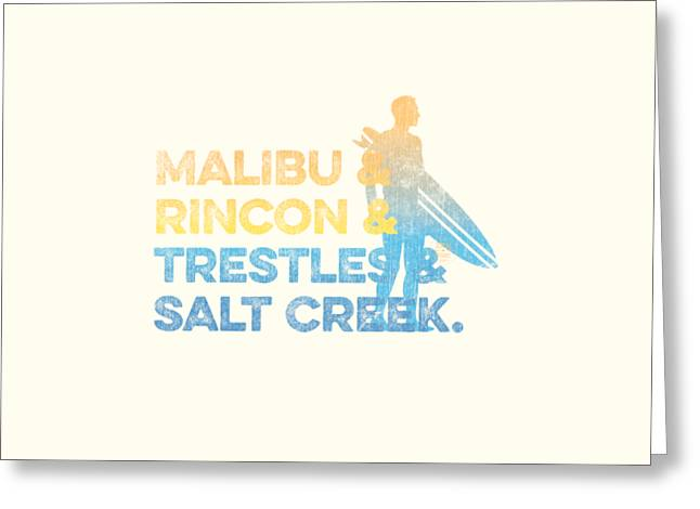Malibu And Rincon And Trestles And Salt Creek Greeting Card by SoCal Brand
