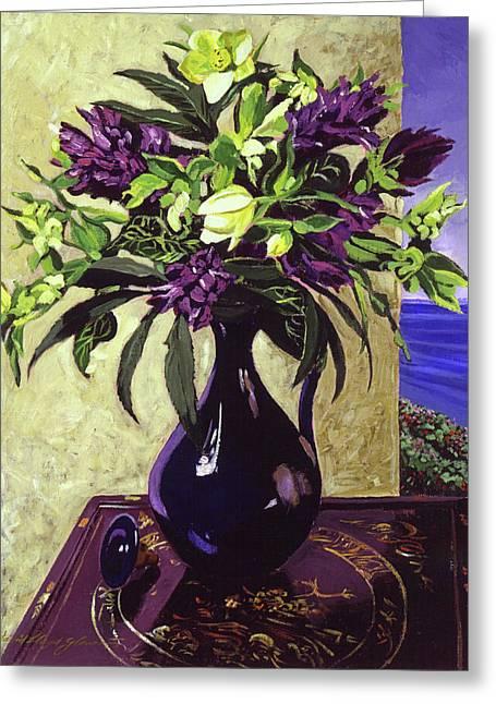 Malibu Hyacinths In Deep Blue Blue  Ceramic Greeting Card
