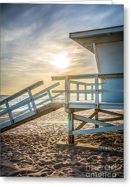 Malibu Lifeguard Tower #3 Sunset On Zuma Beach  Greeting Card by Paul Velgos
