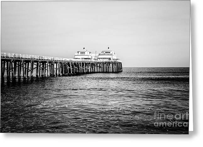 Malibu Pier Black And White Picture In Malibu California Greeting Card by Paul Velgos
