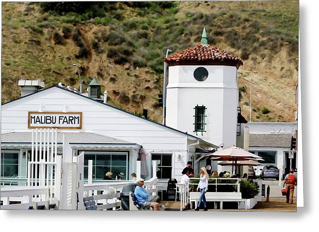 Malibu Pier Restaurant Greeting Card by Art Block Collections
