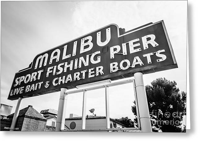 Malibu Pier Sign Black And White Photo Greeting Card by Paul Velgos