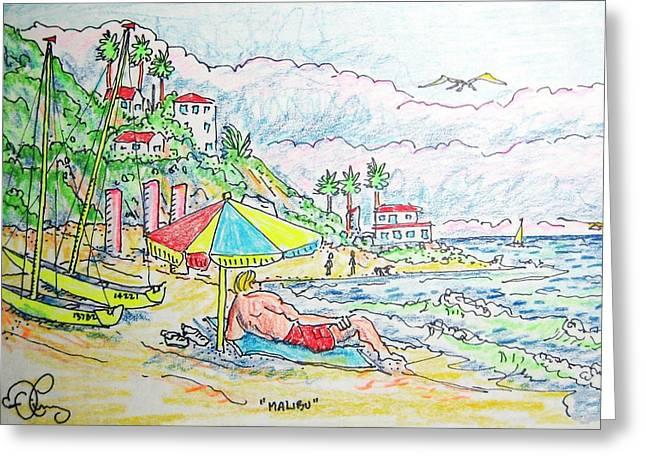 Malibu Greeting Card by Robert Findley