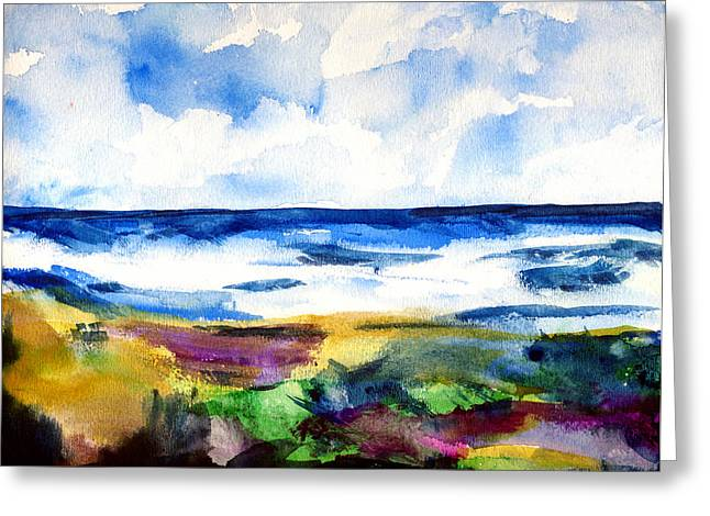 Malibu Shore Abstraction Greeting Card by Randy Sprout