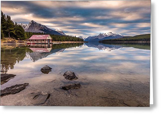 Greeting Card featuring the photograph Maligne Lake Boat House Sunrise by Pierre Leclerc Photography
