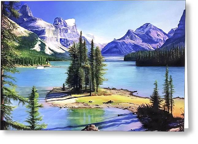 Maligne Lake - Canada Greeting Card by Daniel Daniel