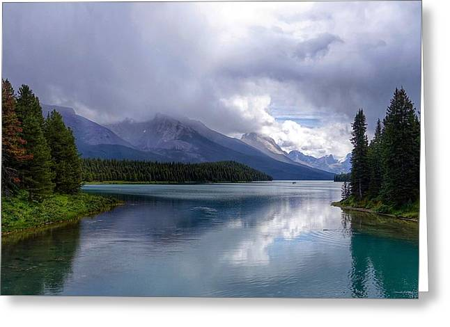Maligne Lake Greeting Card by Heather Vopni