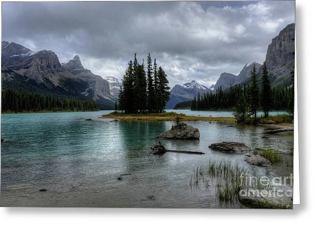 Maligne Lake Spirit Island Jasper National Park Alberta Canada Greeting Card