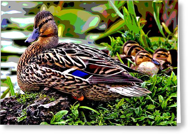 Mallard And Chicks Greeting Card by Charles Shoup