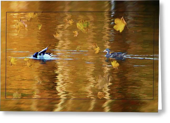 Mallard Ducks On Magnolia Pond - Painted Greeting Card