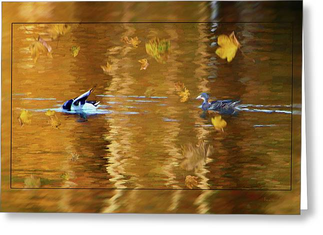 Mallard Ducks On Magnolia Pond - Painted Greeting Card