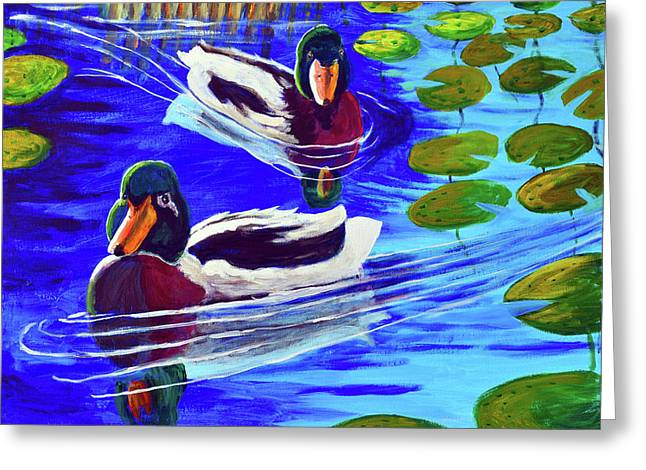 Mallards In The Pads Greeting Card by Bob Crawford